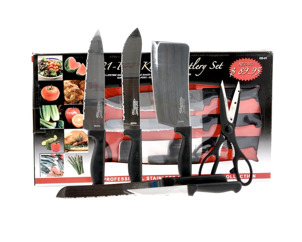 chef 39 s miracle edge stainless steel 21 piece kitchen knife cutlery set gift idea ebay. Black Bedroom Furniture Sets. Home Design Ideas