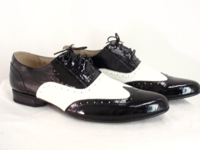 s patent leather black and white wedding shoes new