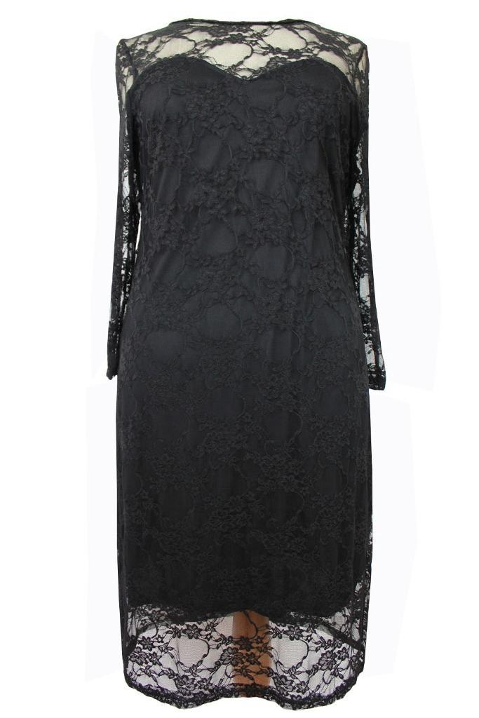 Plus size ladies black lace dress sizes 16 18 20 22 24 26 bnwot ebay