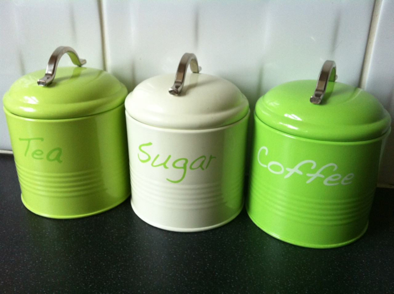 Our pretty retro design canisters will keep your tea, coffee and sugar