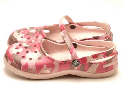 Details about Womens Crocs 9 Mary Jane Clogs Loafers Slip On Pink Camo