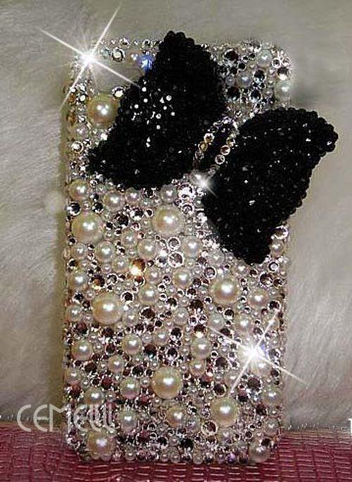 cute-handmade-diamond-pearl-black-bow-hard-case-cover-For-iphone4-4s-5-5s-hd21