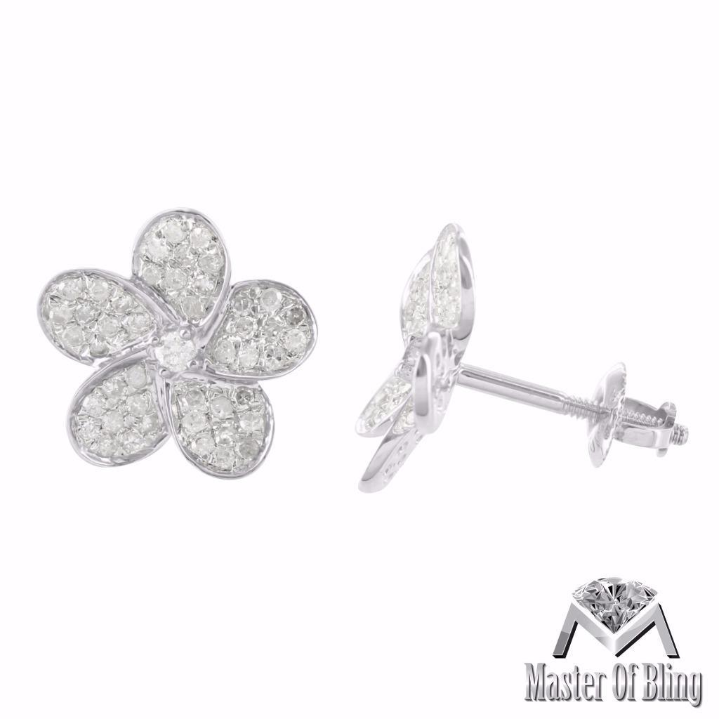 flower diamond earrings screw back 10k white gold. Black Bedroom Furniture Sets. Home Design Ideas