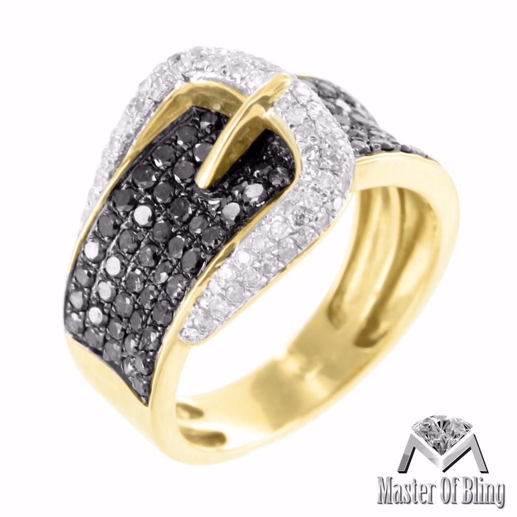 Belt Buckle Rings FOR Women 10K Yellow Gold Black White Diamond Micro Pave Sa