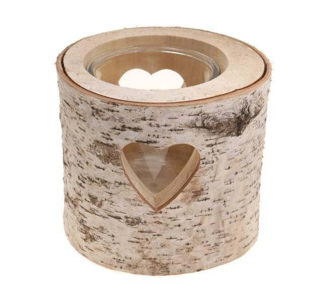 Sass - Belle Heart Bark T-light Holder, Small or Large, Wooden
