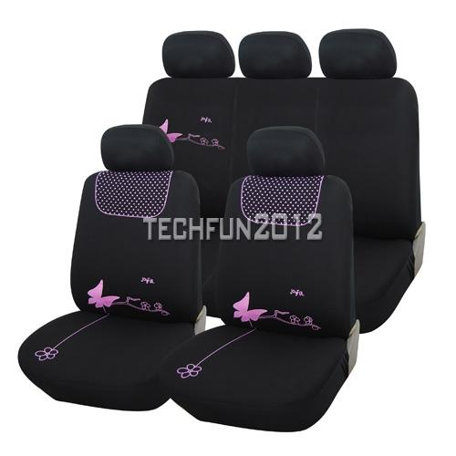 TRUYOO Pink Butterfly 9PC Universal Car Vehicle Seat Cover