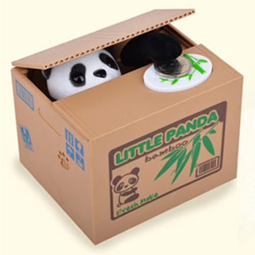 cute stealing black amp white panda coin money box piggy. Black Bedroom Furniture Sets. Home Design Ideas