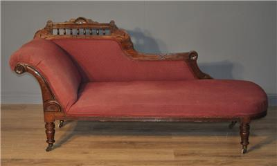 Attractive antique victorian mahogany day bed chaise for Antique chaise longue ebay