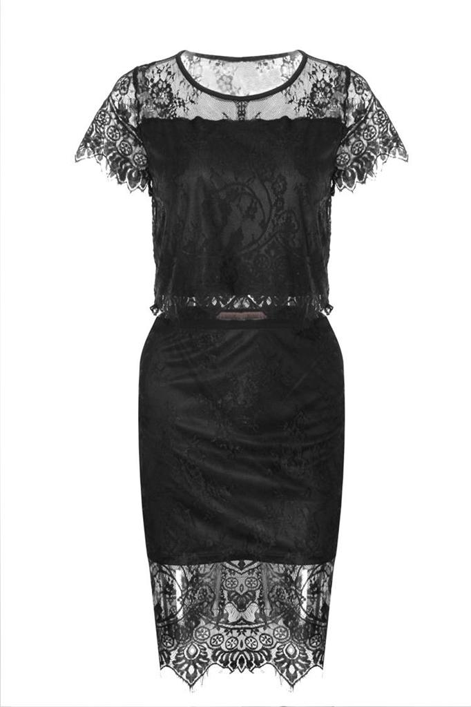 Womens Sexy Lace Bustier Top Skirt Two Piece Mini Dress Club Party Dress Set