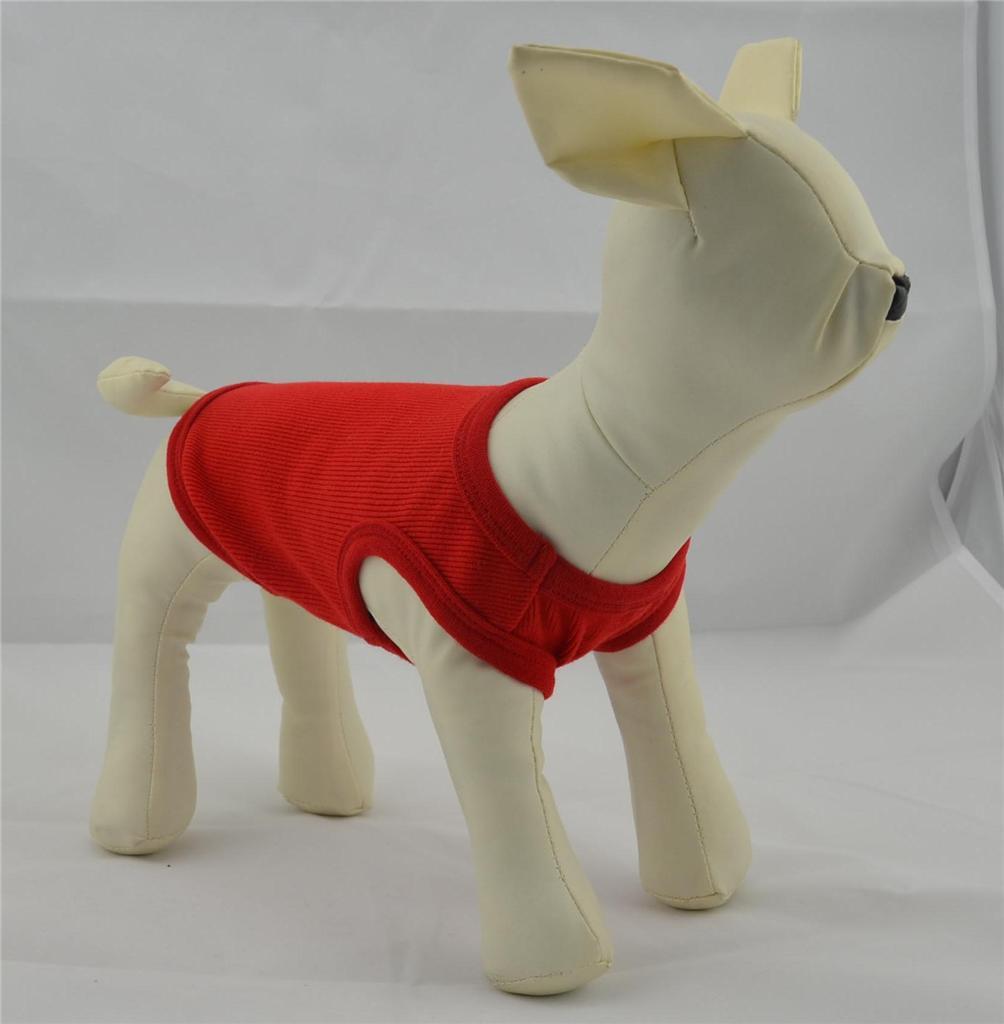 Small Pet Clothing Dog Tank Top Shirt Blank Ribbed Cotton Dog T Shirts 9 Colors