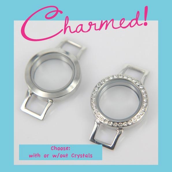 Lot CHARMED! Twist Living Locket Wrap Bracelet Base/Face & Origami Owl Stone