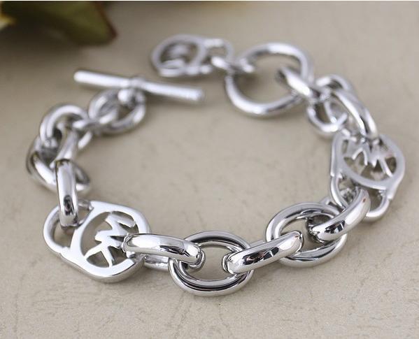 new silver michael kors logo lock charm bracelet 95 ebay