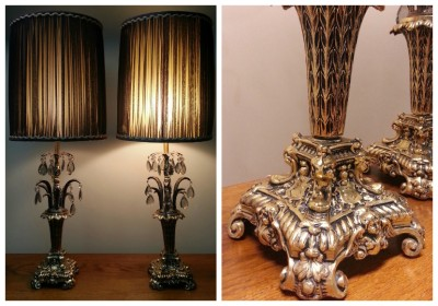 2 Antique Ornate Brass Gold Cherub Table Lamps W Crystal