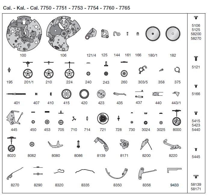 repuestos originales para eta valjoux 7750 autom u00e1tico cron u00f3grafo movimiento parte 3 ebay rolex submariner parts diagram rolex submariner parts diagram