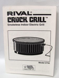 Rival Indoor Electric Grill Steel Base With Crock Grill