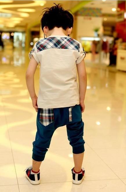 Cool Toddler Girls Boys Letter Lattice Print Suits T Shirt Harem Pants Sets 2 7Y