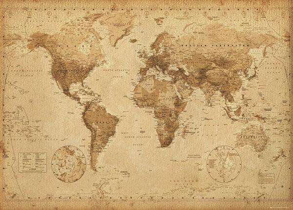 Black World Map Poster World Map Poster Vintage