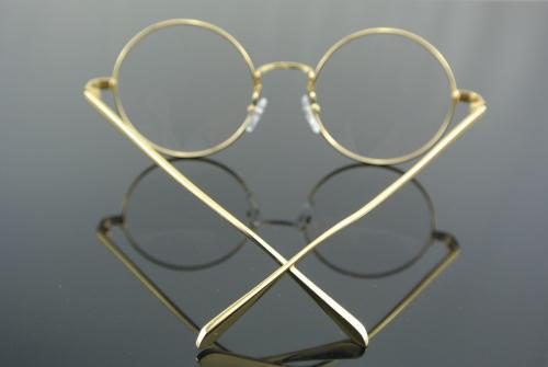 Eyeglass Frame Size 50 : GOLD Metal Vintage Round Eyeglass Frame Clear Lens Full ...
