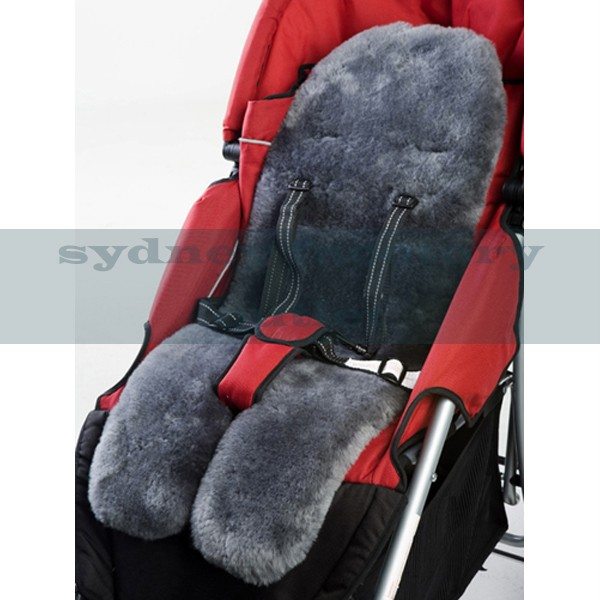 medical grade australian sheepskin baby pram stroller car seat liner charcoal ebay. Black Bedroom Furniture Sets. Home Design Ideas