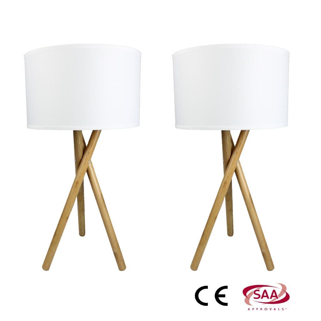 pair of modern vantage wood bedside table lamps lights timber base ttl380 saa ebay. Black Bedroom Furniture Sets. Home Design Ideas