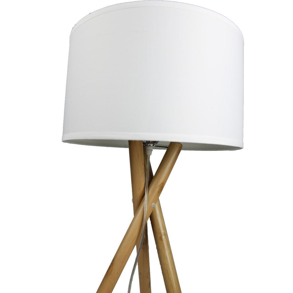 Pair Of Modern Vantage Wood Bedside Table Lamps Lights