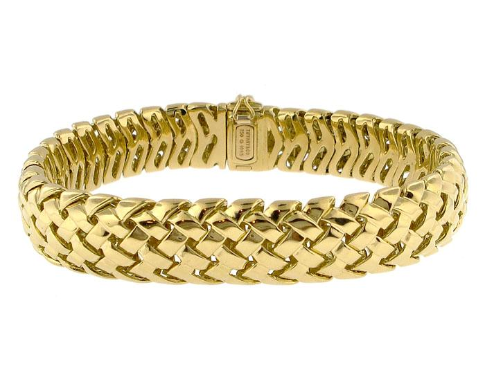How To Basket Weave Bracelet : Tiffany co k gold vanerie basket weave bracelet
