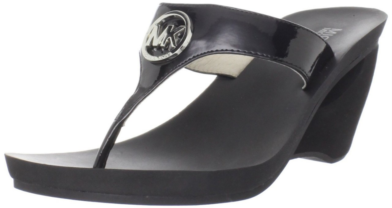 Michael Kors Warren Sandal Womens Blk Wedge Thong Flip Flop Heel Mult