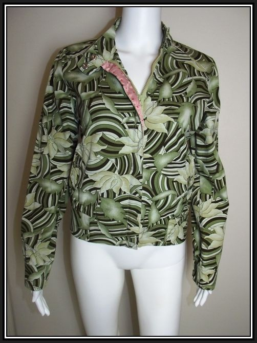 Ladies-PURR-Size-Med-M-8-10-Green-Floral-Zippered-Jacket-Light-Weight-EUC