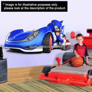 SONIC The Hedgehog RACE CAR - WALL STICKER