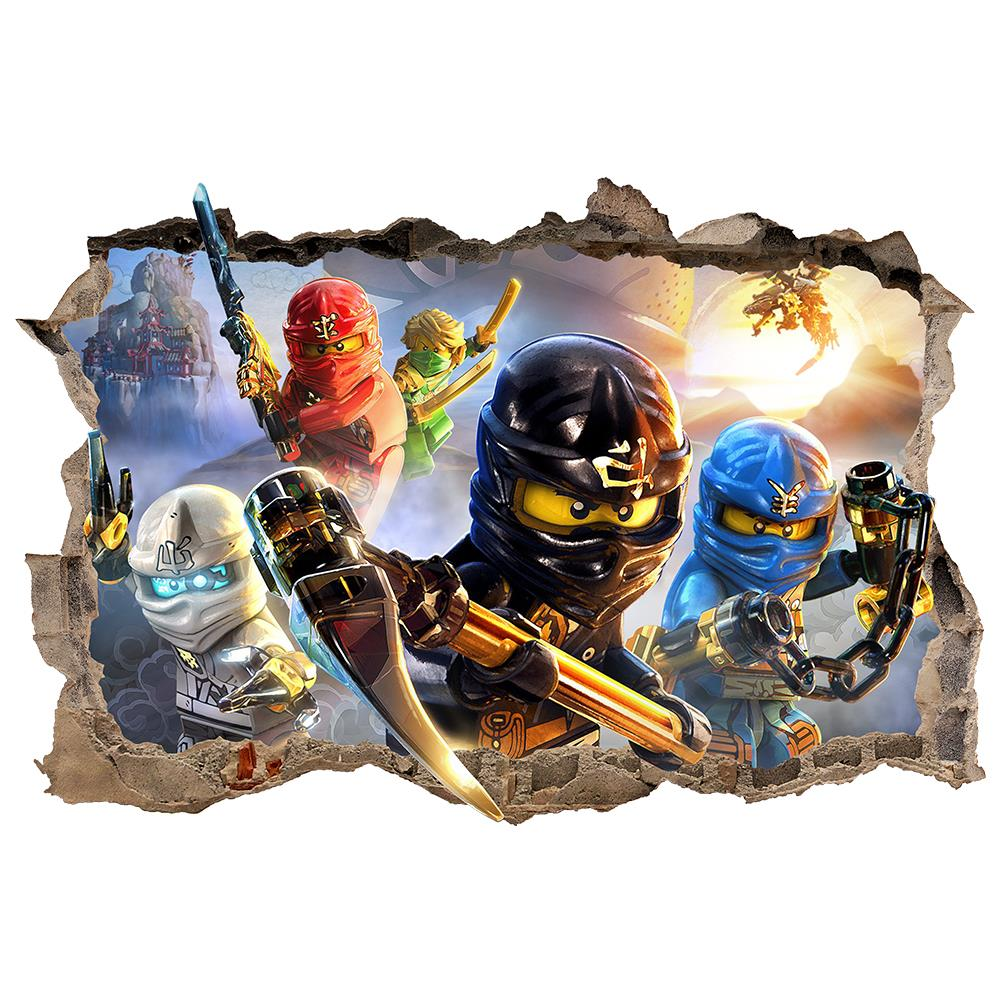 lego ninjago smashed wall sticker 3d bedroom removable. Black Bedroom Furniture Sets. Home Design Ideas