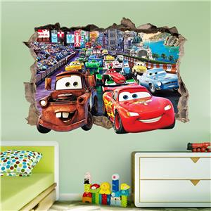 Disney cars smashed wall sticker bedroom art kids tv for Disney cars large wall mural
