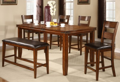 mango 9 piece dining set table w leaf and 8 chairs counter height new