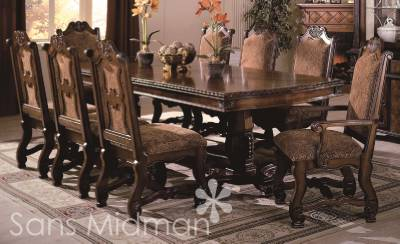 piece renae dining room set table w 2 leaves 8 chairs renae dining set