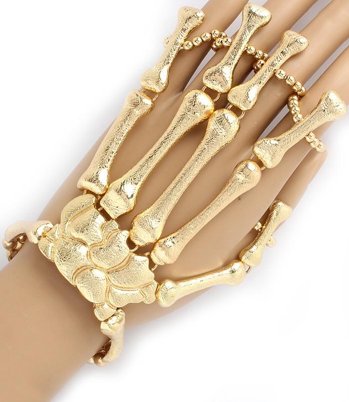 Moving Joints Metal Skeleton Hand Bracelet 5 finger Ring | eBay