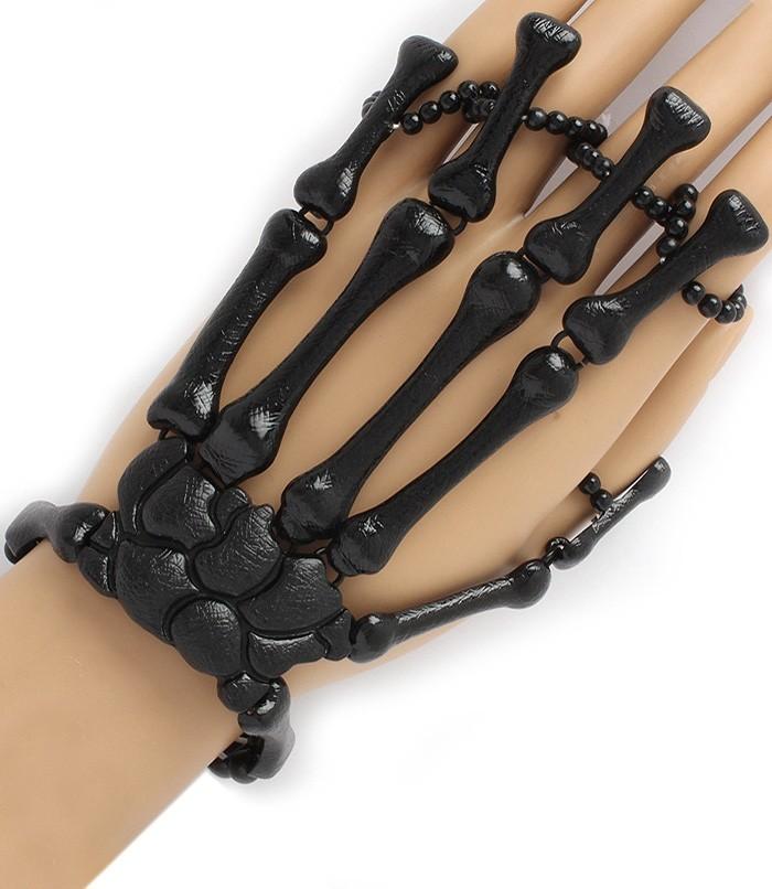 Moving Joints Metal Skeleton Hand Bracelet 5 finger Ring