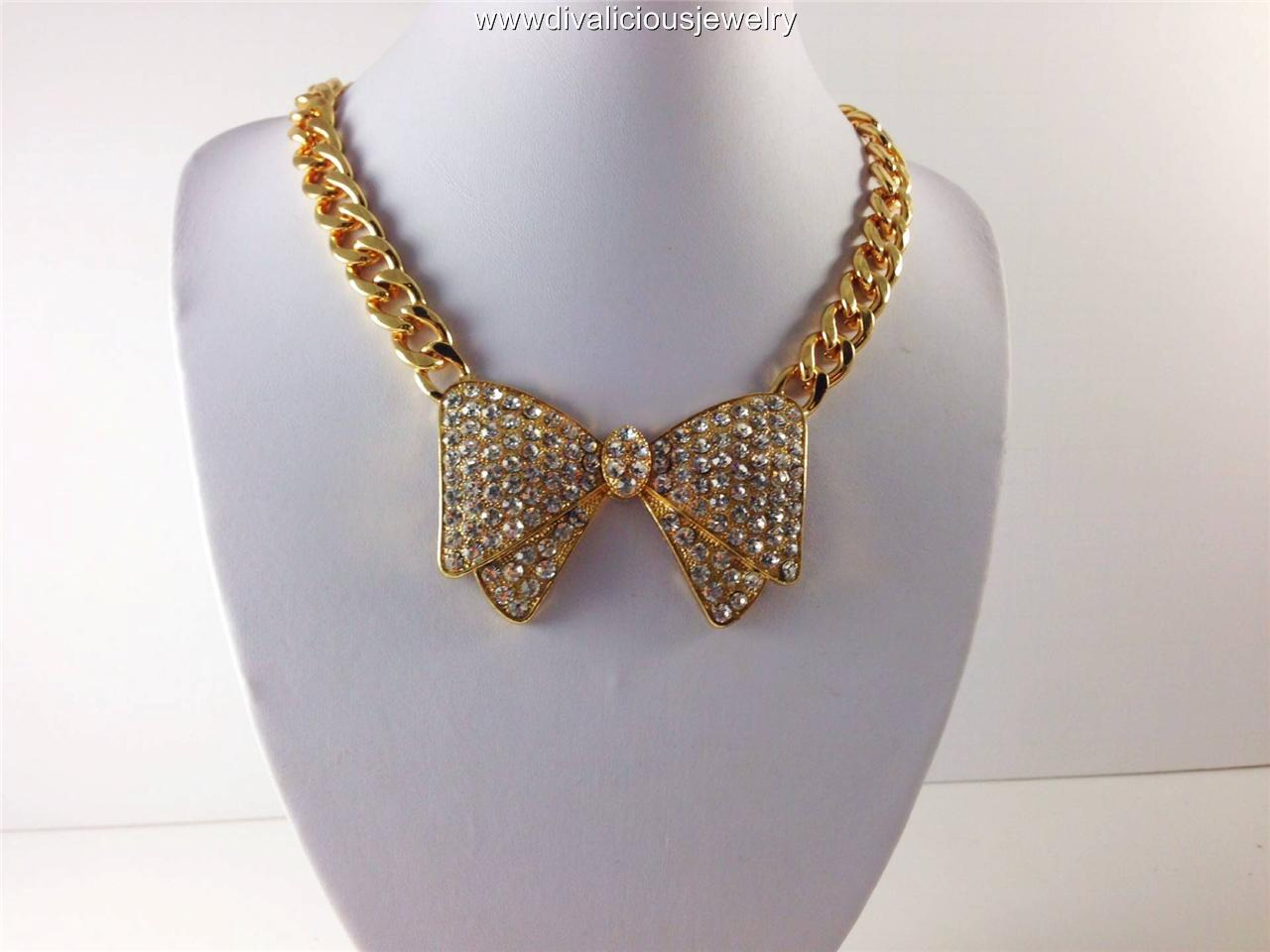 Crystal Ritz Bow Tie Bling Diva Necklace - Gold or Silver
