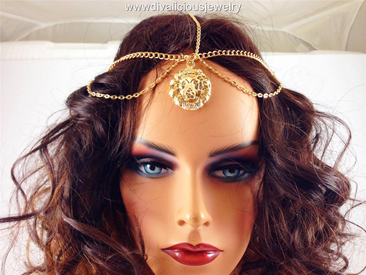 Lion Diva Head Chain - Gold or Silver