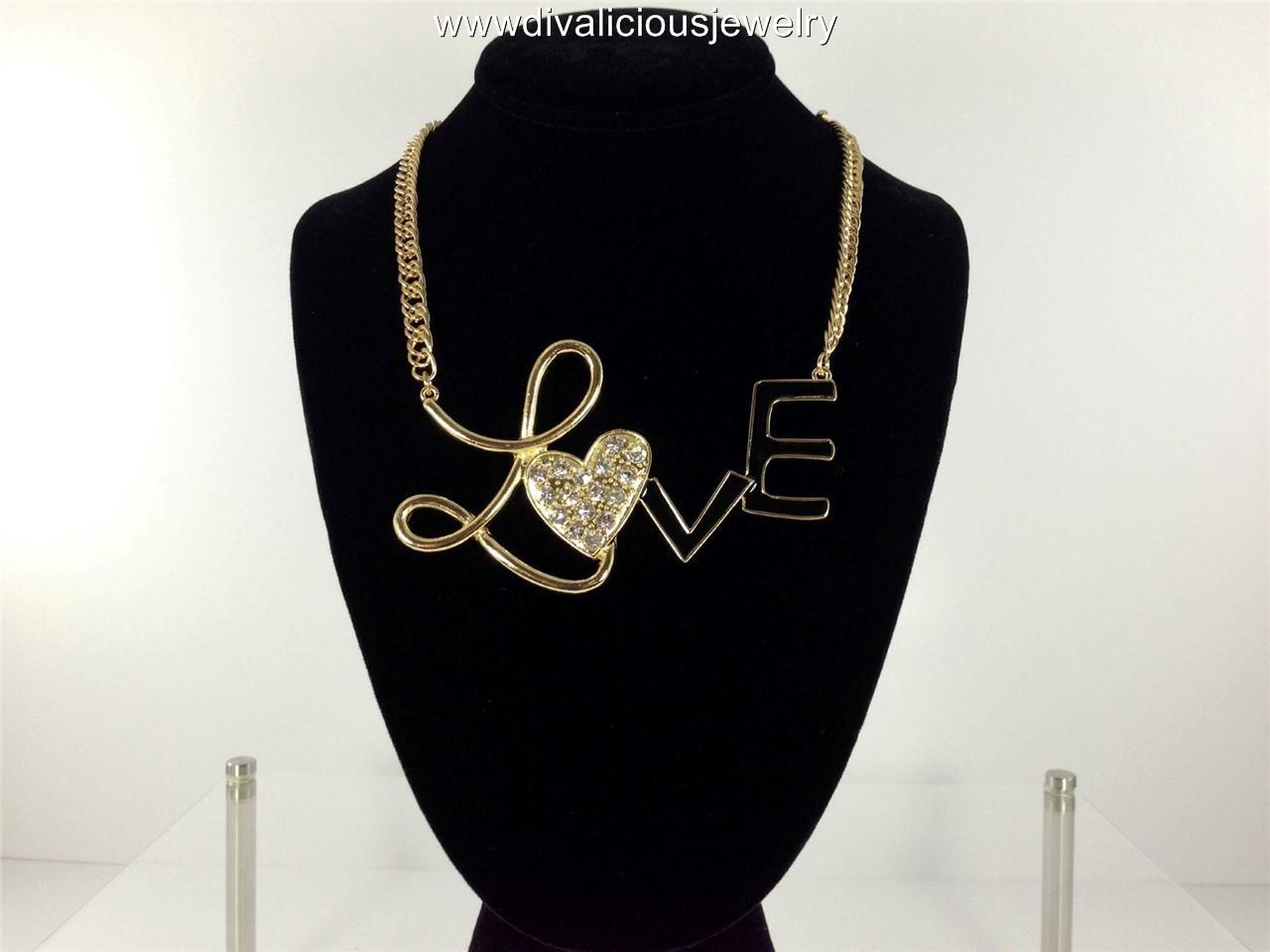 Crystal LOVE Heart Statement Bling Diva Necklace - Gold or Silver