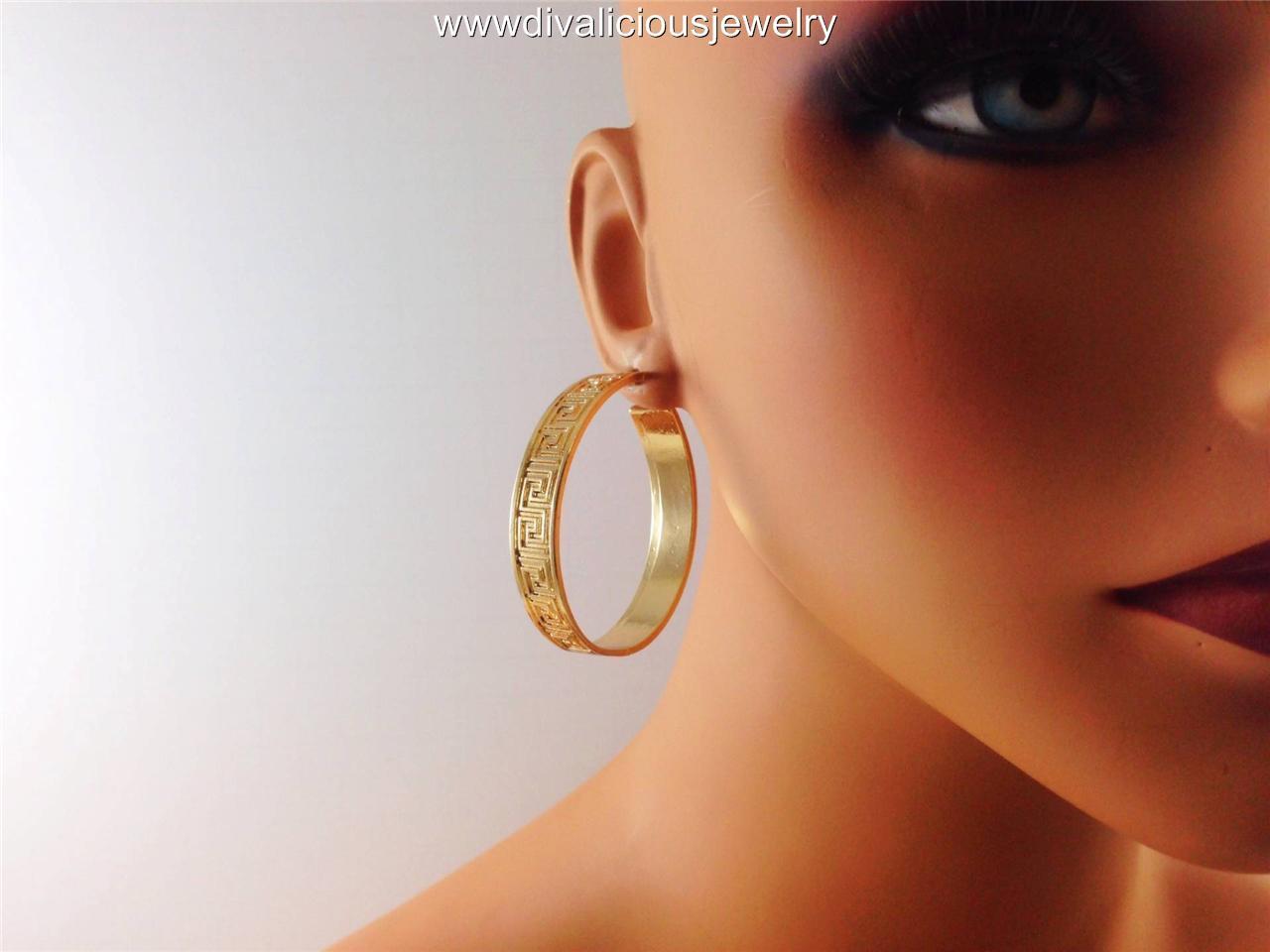 Greek Key Symbol Sequence Pattern Hoop Diva Earrings Gold Or