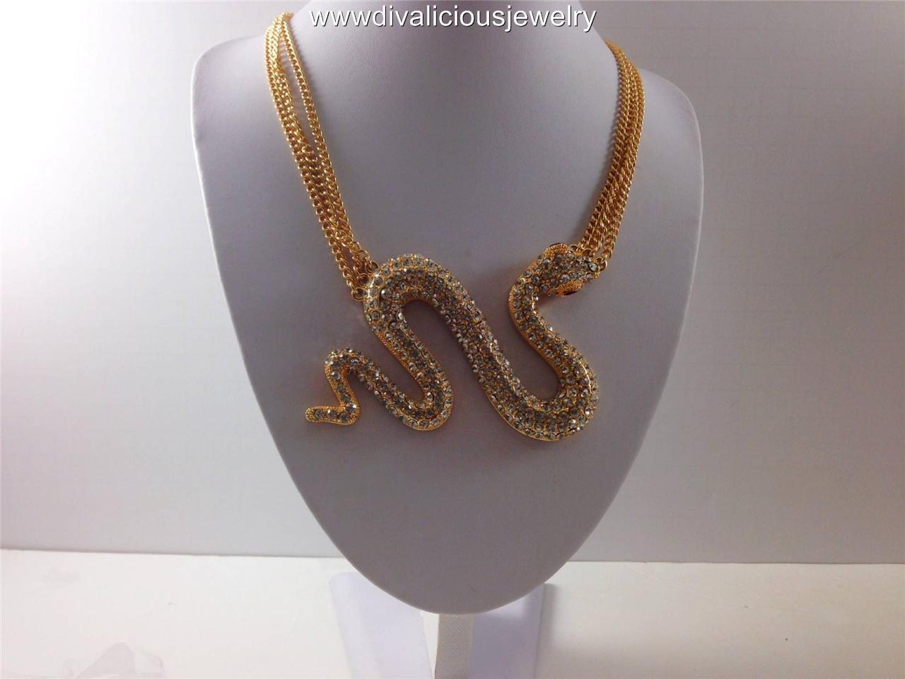 Crystal Ultra Snake Diva Bling Layered Chain Necklace - Gold or Silver