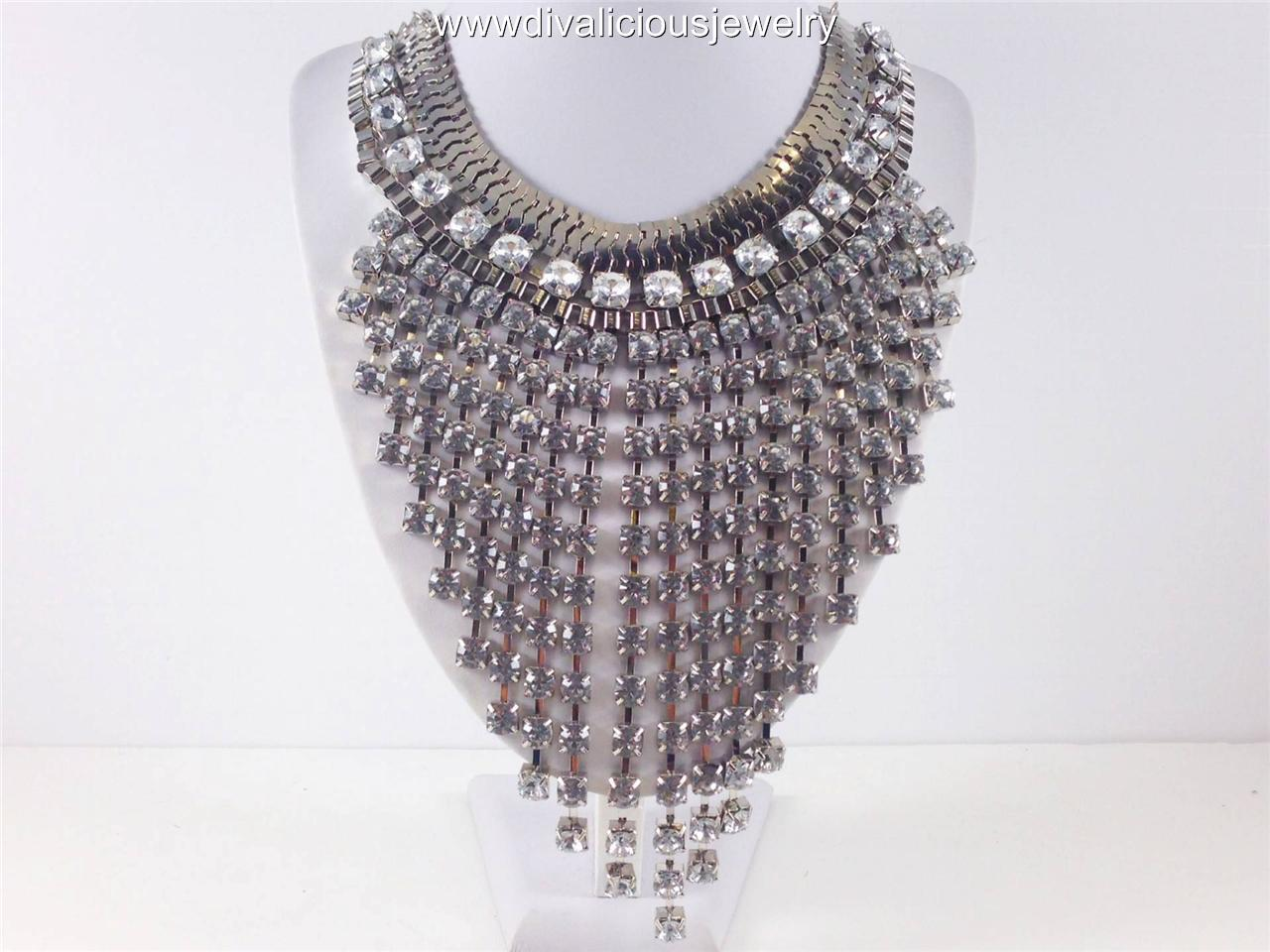 Crystal Chandelier Cascade Diva Necklace - Gold or Silver