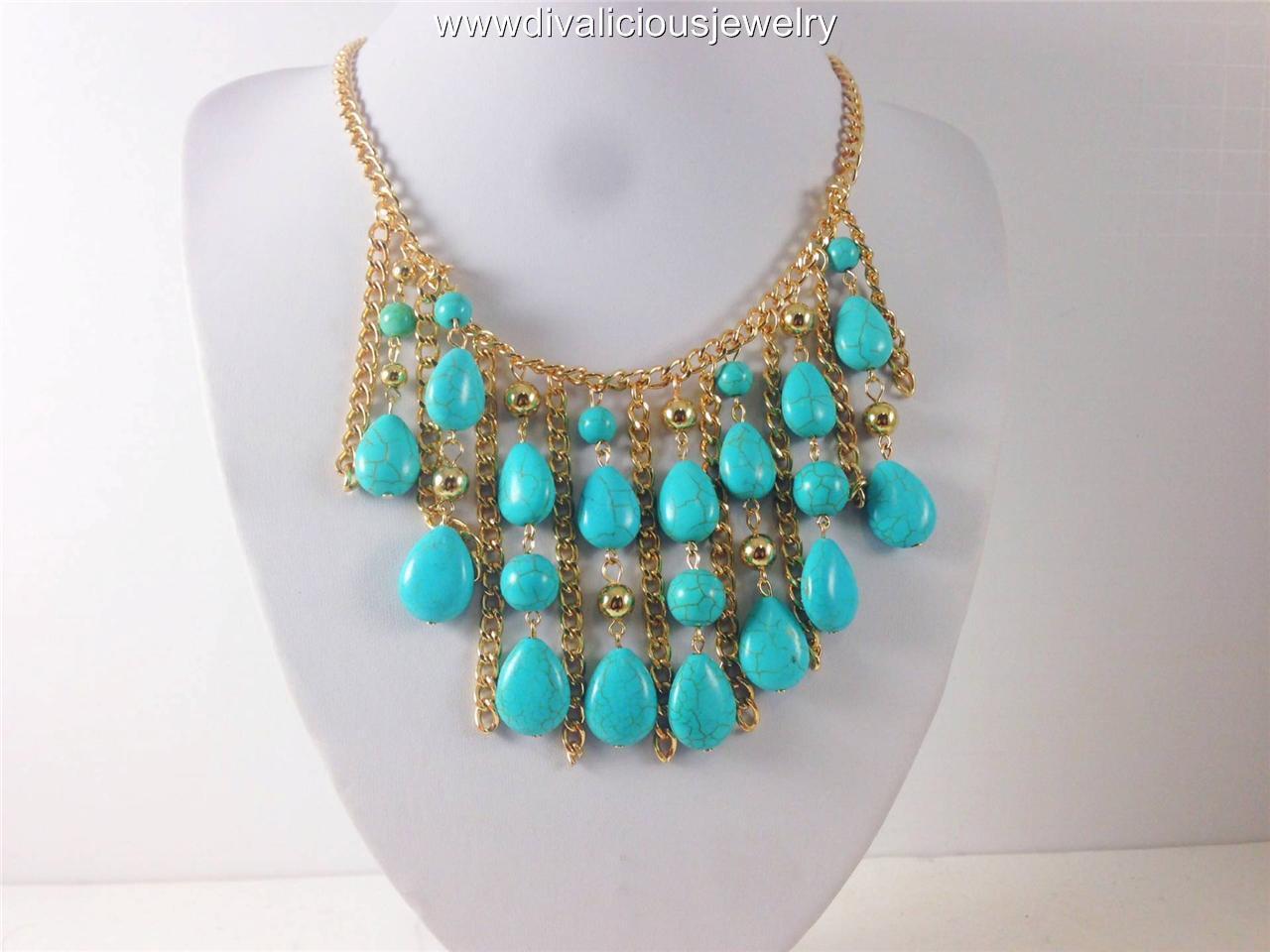 Imperial Multi Stone Diva Necklace Set - Cream or Turqouoise