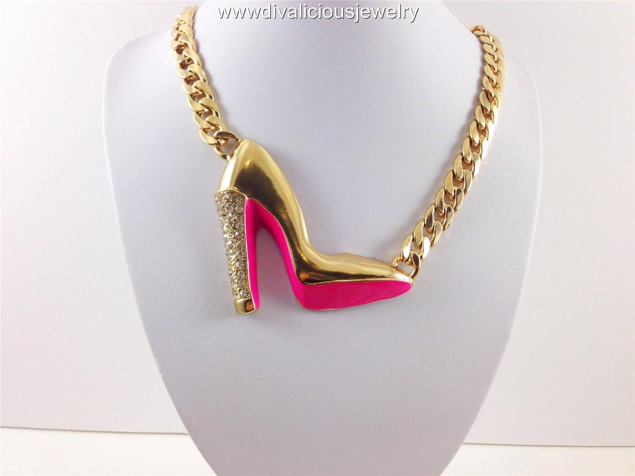 Crystal Heel Stiletto Bling Diva Necklace - 3 Colors