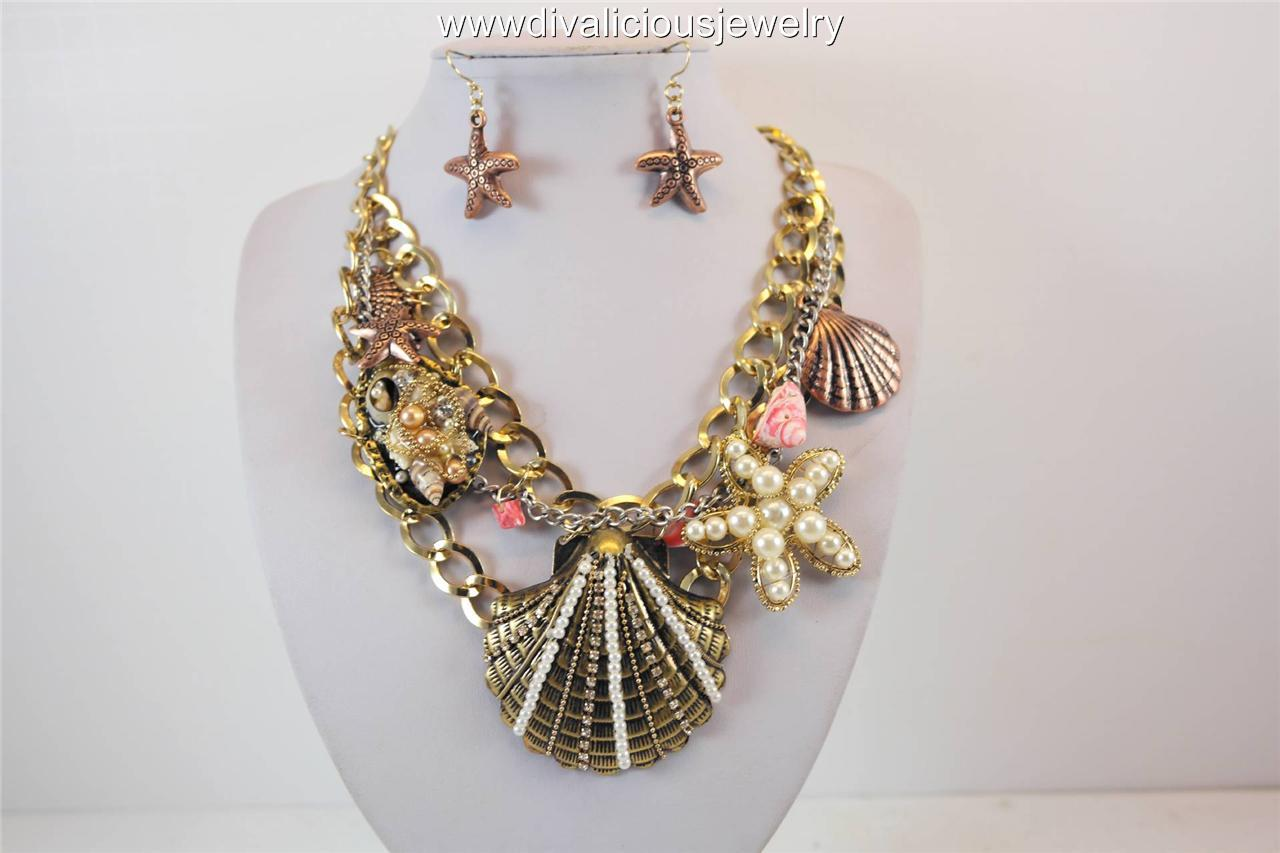 Nautical Shell Medley Diva Necklace Set - Gold or Silver