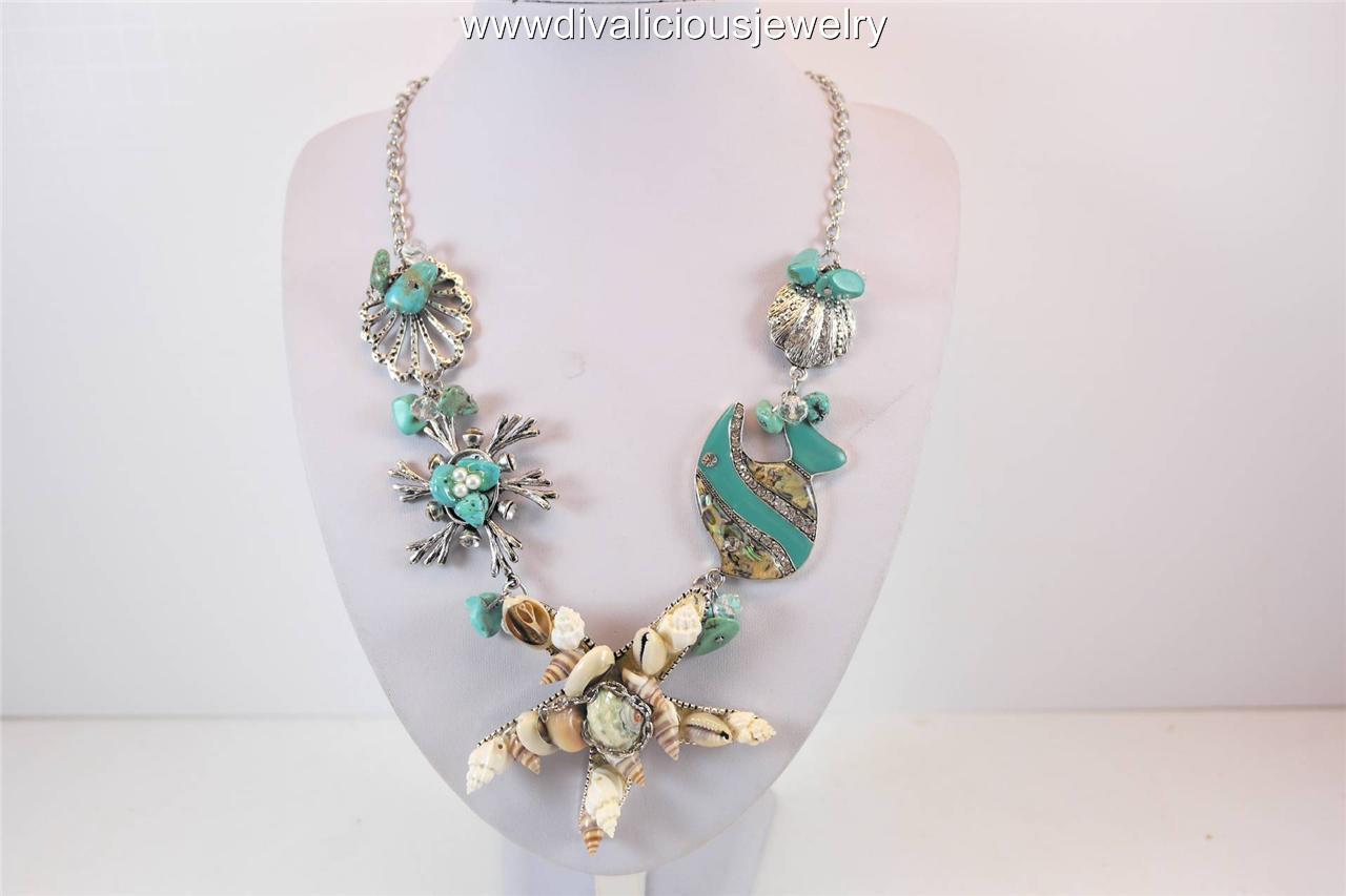 Crystal Sea Shell Star Fish Nautical Diva Necklace - Coral or Turquoise