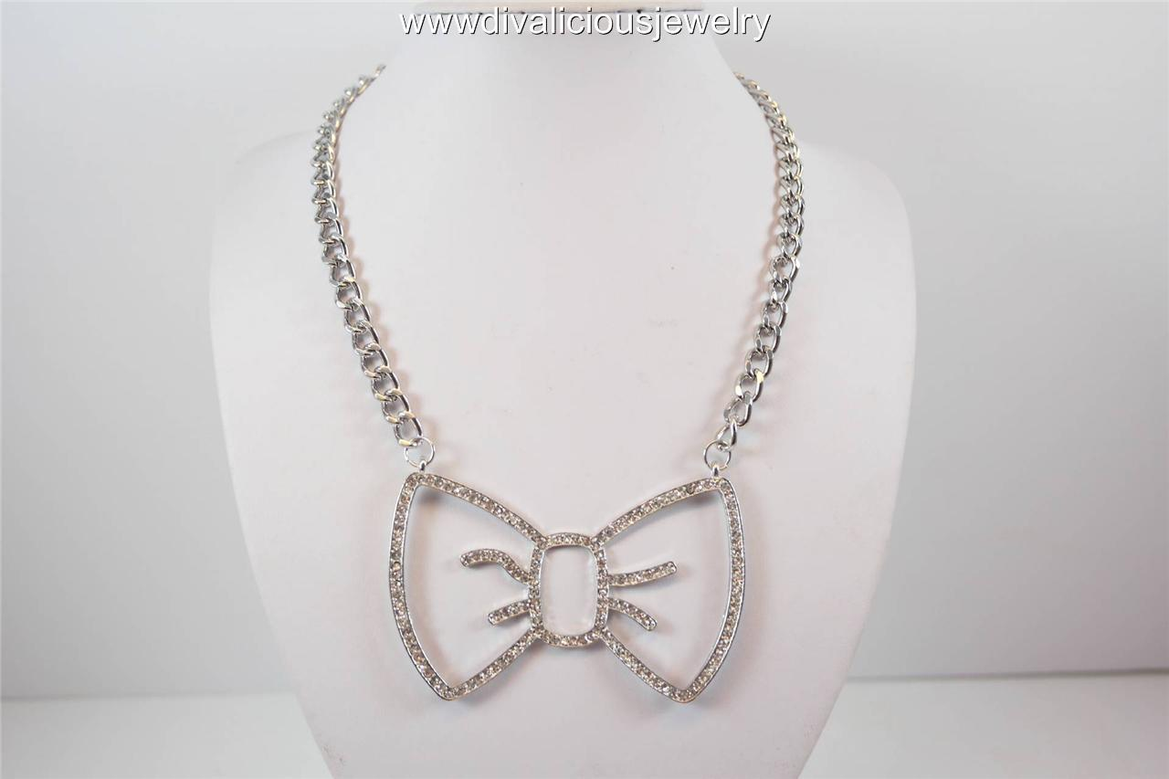 Crystal Bella Bow Tie Outline Bling Diva Necklace - Gold or Silver