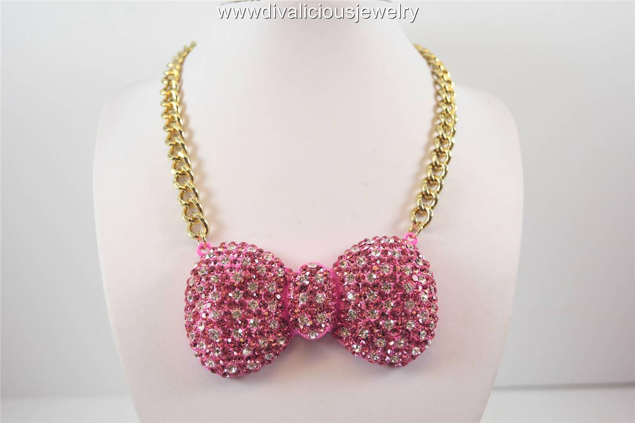 Crystal Kitty Bow Tie Polka Dot Bling Diva Necklace - 5 Colors
