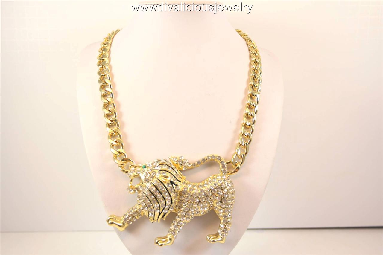 Crystal Regal Lion Ultra Bling Diva Necklace - Gold or Silver