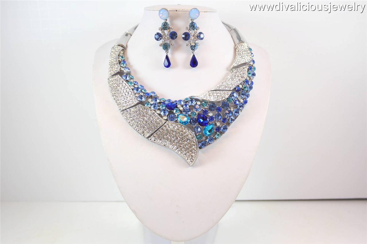 Elite Crystal Athena Bling Diva Choker Necklace Set - 3 Colors
