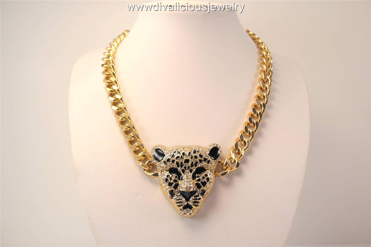 Crystal Mid Leopard Bling Diva Necklace - Gold or Silver